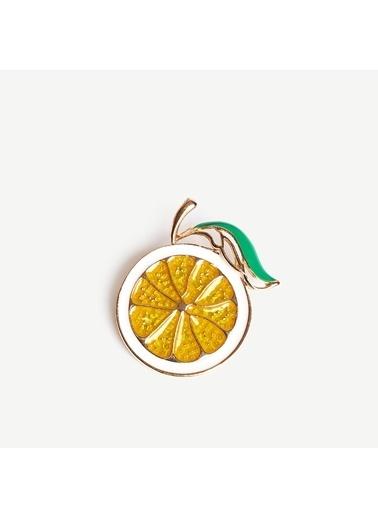 Yargıcı Limon Formlu Broş Sarı